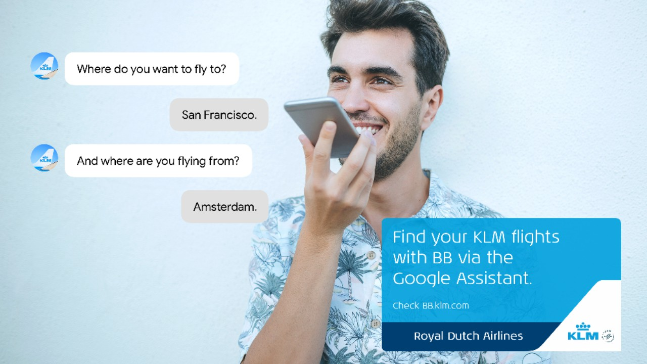 klm blue bot google assistant