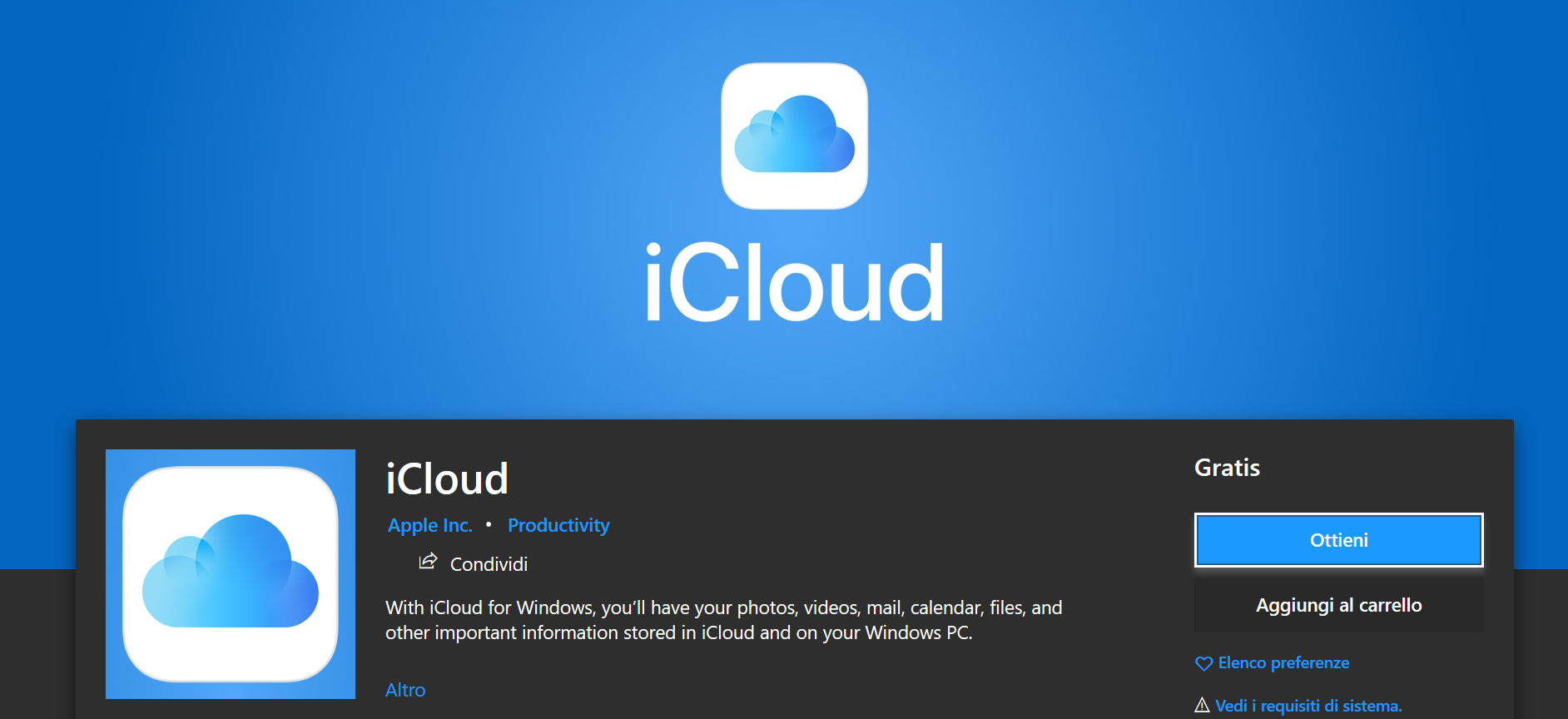 iCloud, disponibile l'app desktop per Windows 10 thumbnail