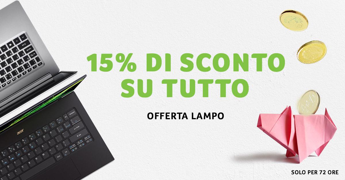Offerta lampo sullo store di Acer: 15% di sconto su tutti i prodotti thumbnail