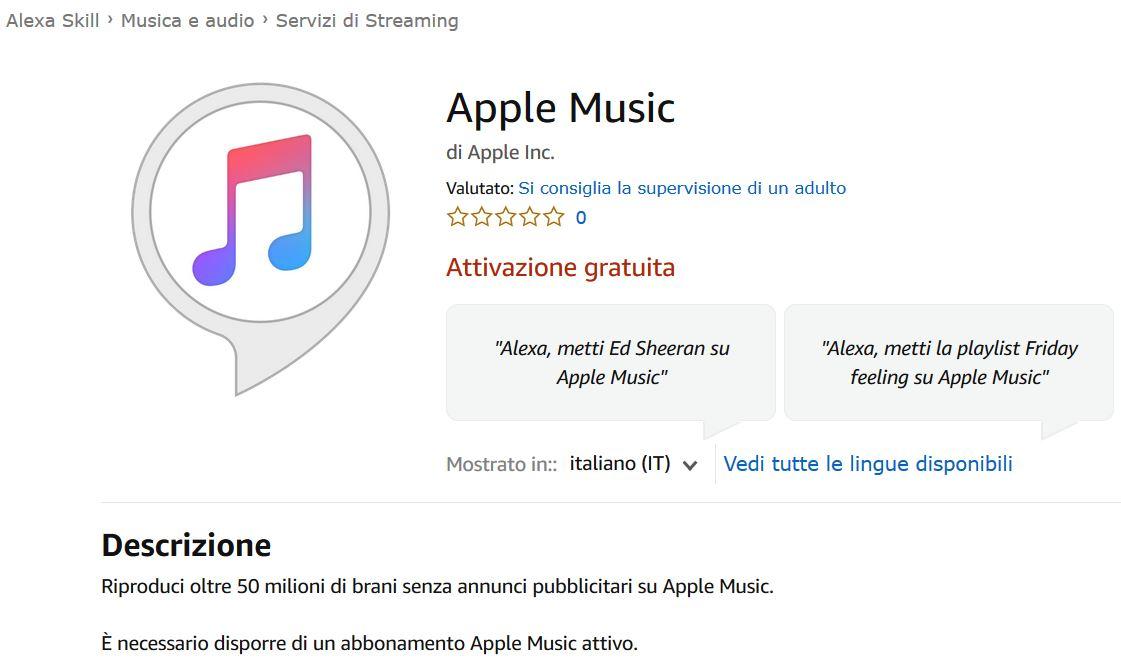 Apple Music: ora disponibile per i dispositivi Alexa in Italia thumbnail