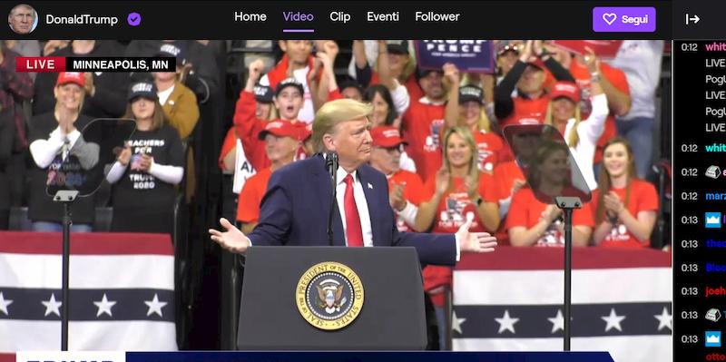 Donald Trump ha aperto un profilo Twitch thumbnail