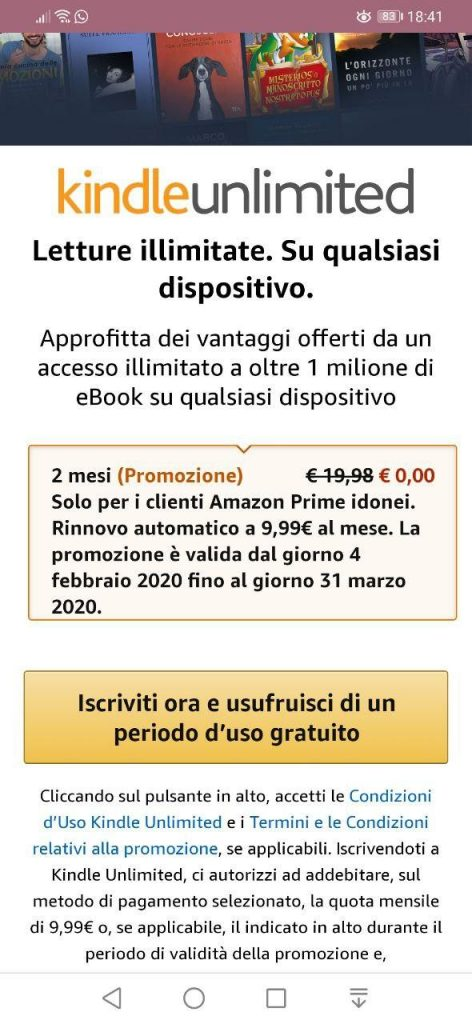 Kindle Unlimited gratis 2 mesi come attivarlo