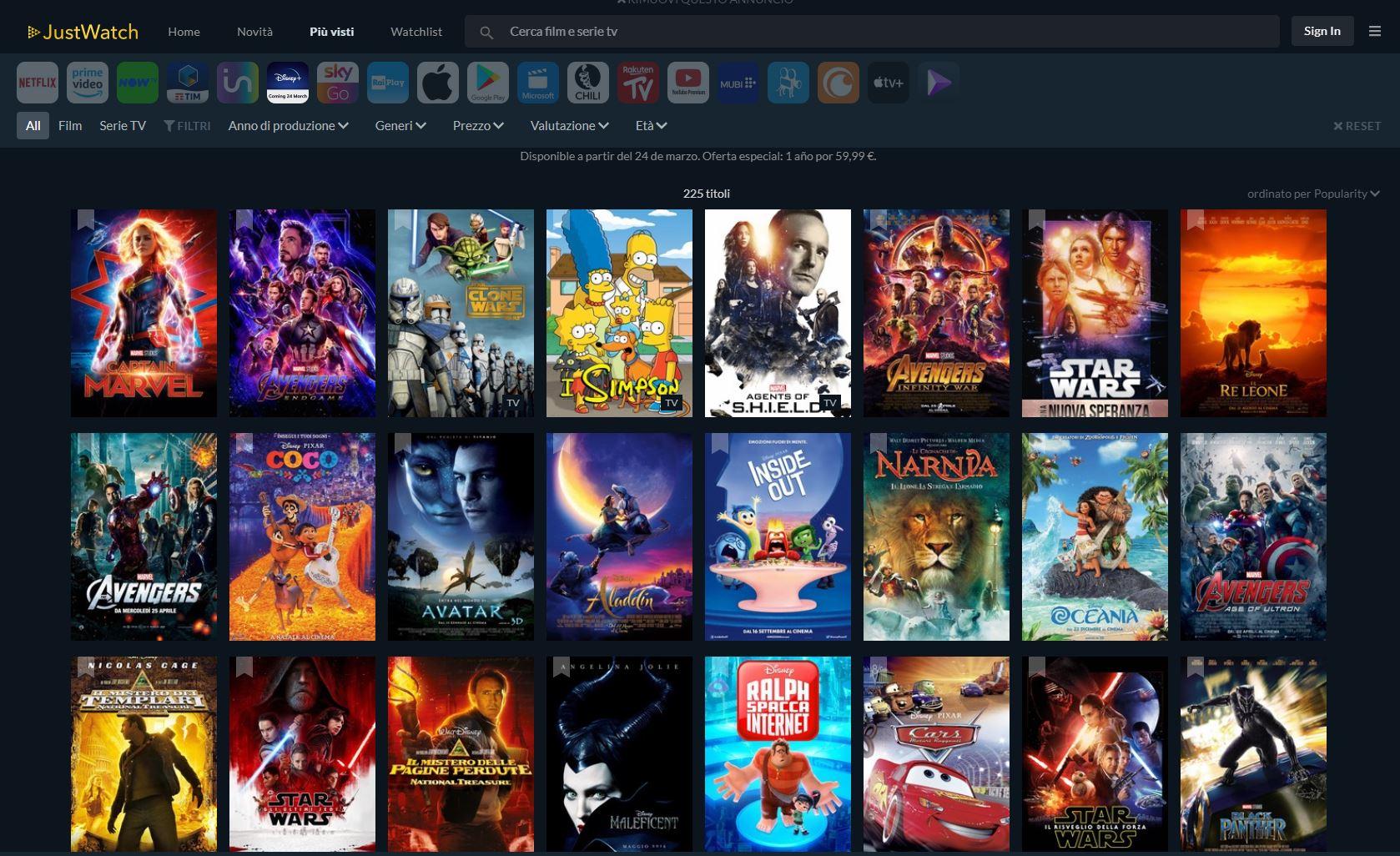 Disney+ ecco i primi 225 titoli del catalogo italiano. Parola di Justwatch thumbnail