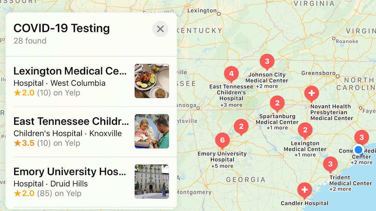 Anche Apple Maps ora mostra dove fare i test per il COVID-19 thumbnail