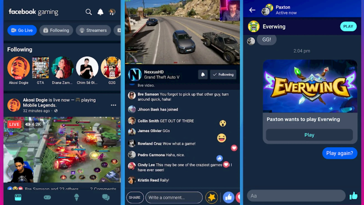 Facebook Gaming sfida Twitch e Youtube con la sua applicazione thumbnail