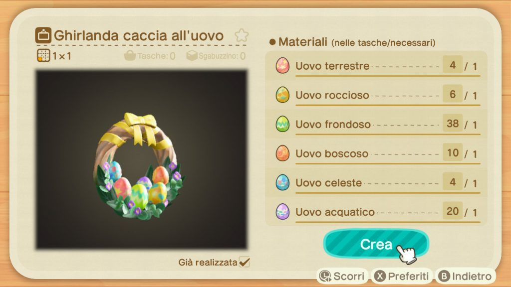 Guida Pasqua Animal Crossing New Horizons ghirlanda