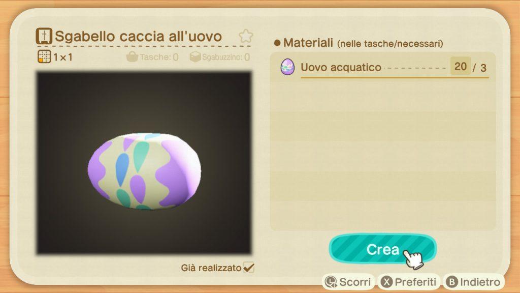Guida Pasqua Animal Crossing New Horizons sgabello