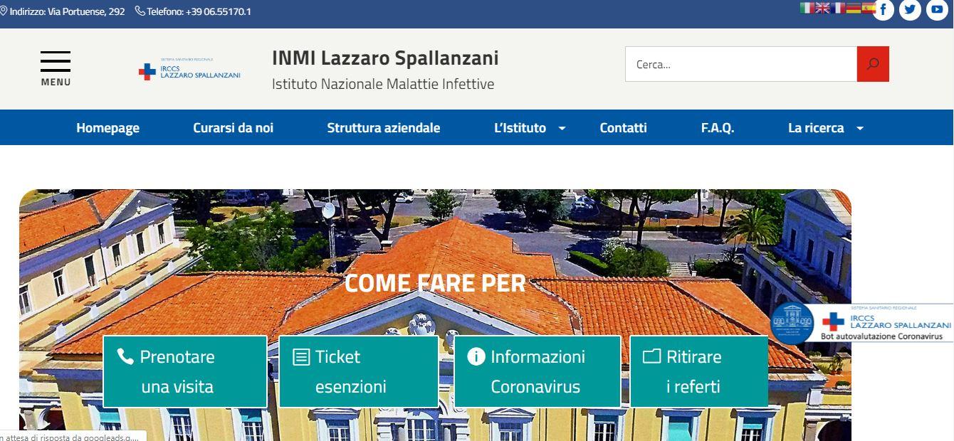 Microsoft coronavirus homepage spallanzani