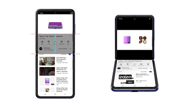 Samsung Z Flip Youtube flex mode
