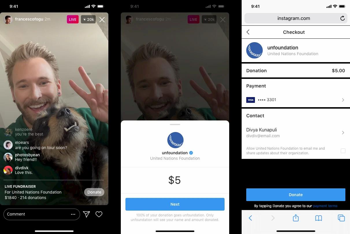 Ora sono possibili le raccolte fondi durante le live di Instagram thumbnail