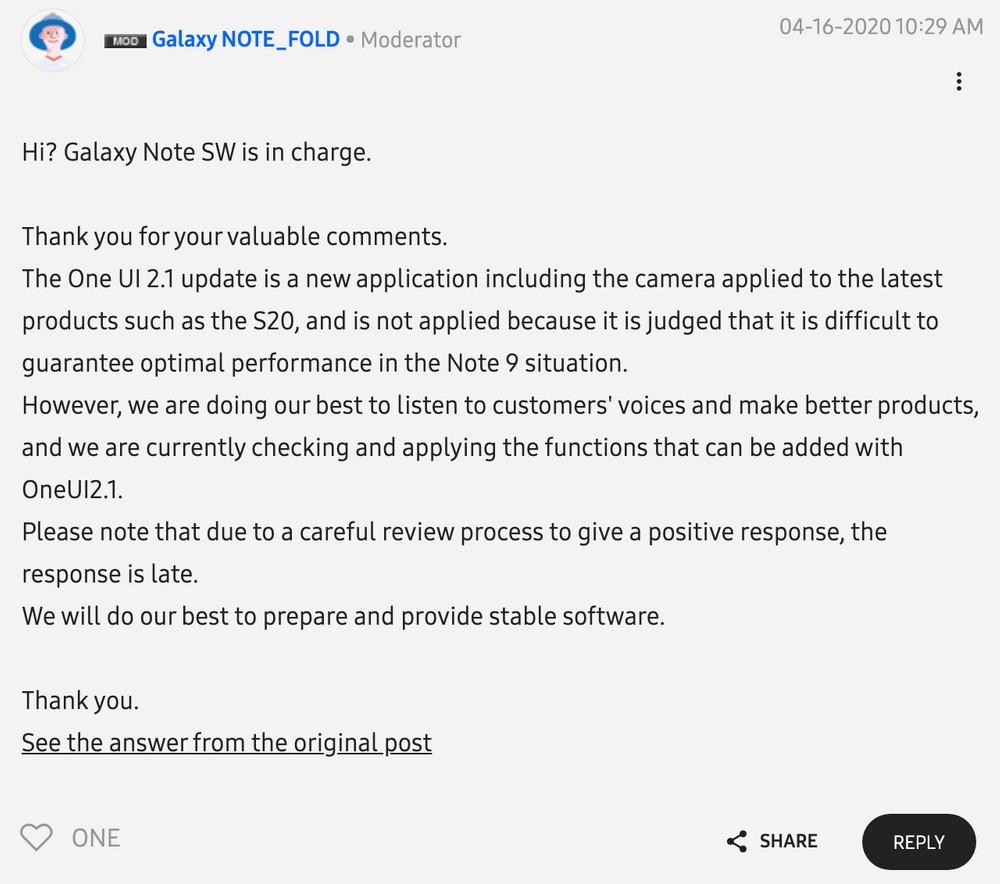 Samsung Note 9 aggiornamento one ui