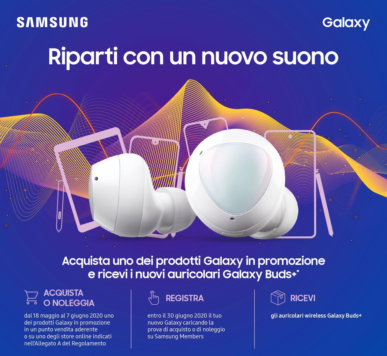 Offerte Samsung: Galaxy Buds+ in omaggio con Galaxy S20 thumbnail