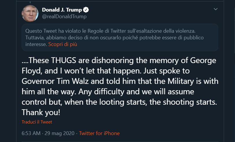 Trump tweet thugs ordine esecutivo social network
