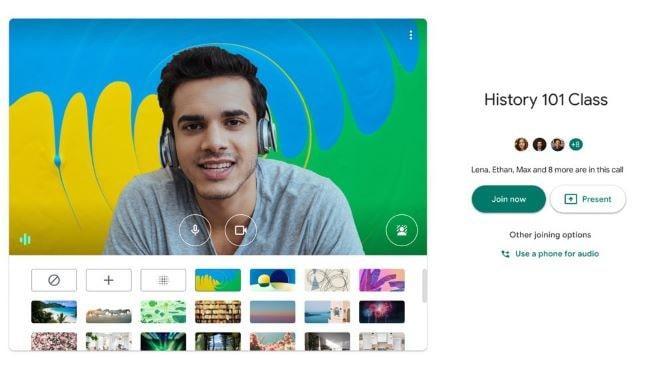 Google Meet sfondi virtuali