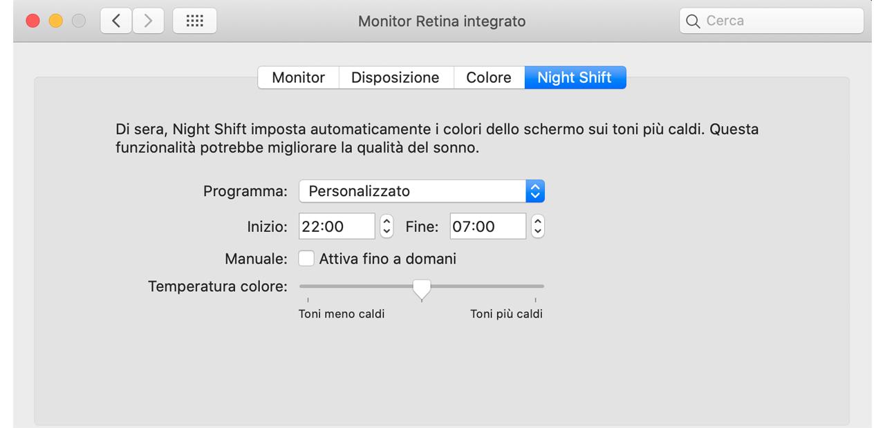 MacOS suggerimenti night shift