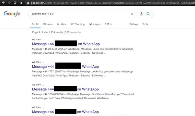 WhatsApp numeri Google