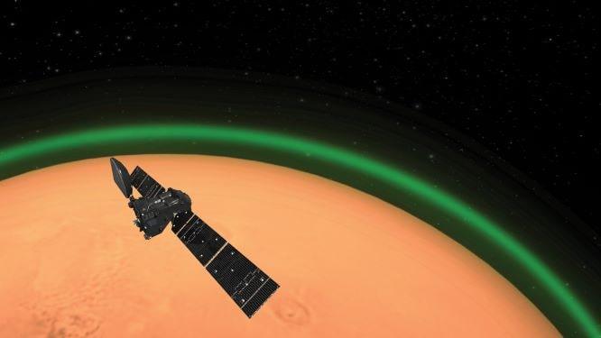 Bagliore verde sul Pianeta Rosso. L'atmosfera di Marte brilla come quella terrestre thumbnail