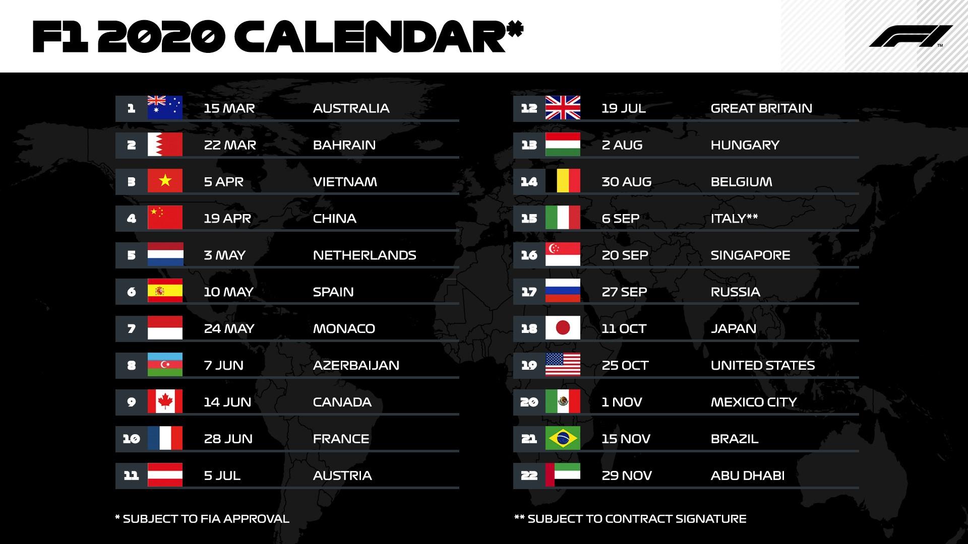 F1 2020 calendario ufficiale