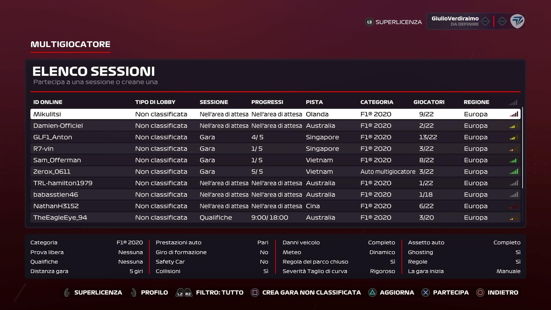 F1® 2020 lista lobby