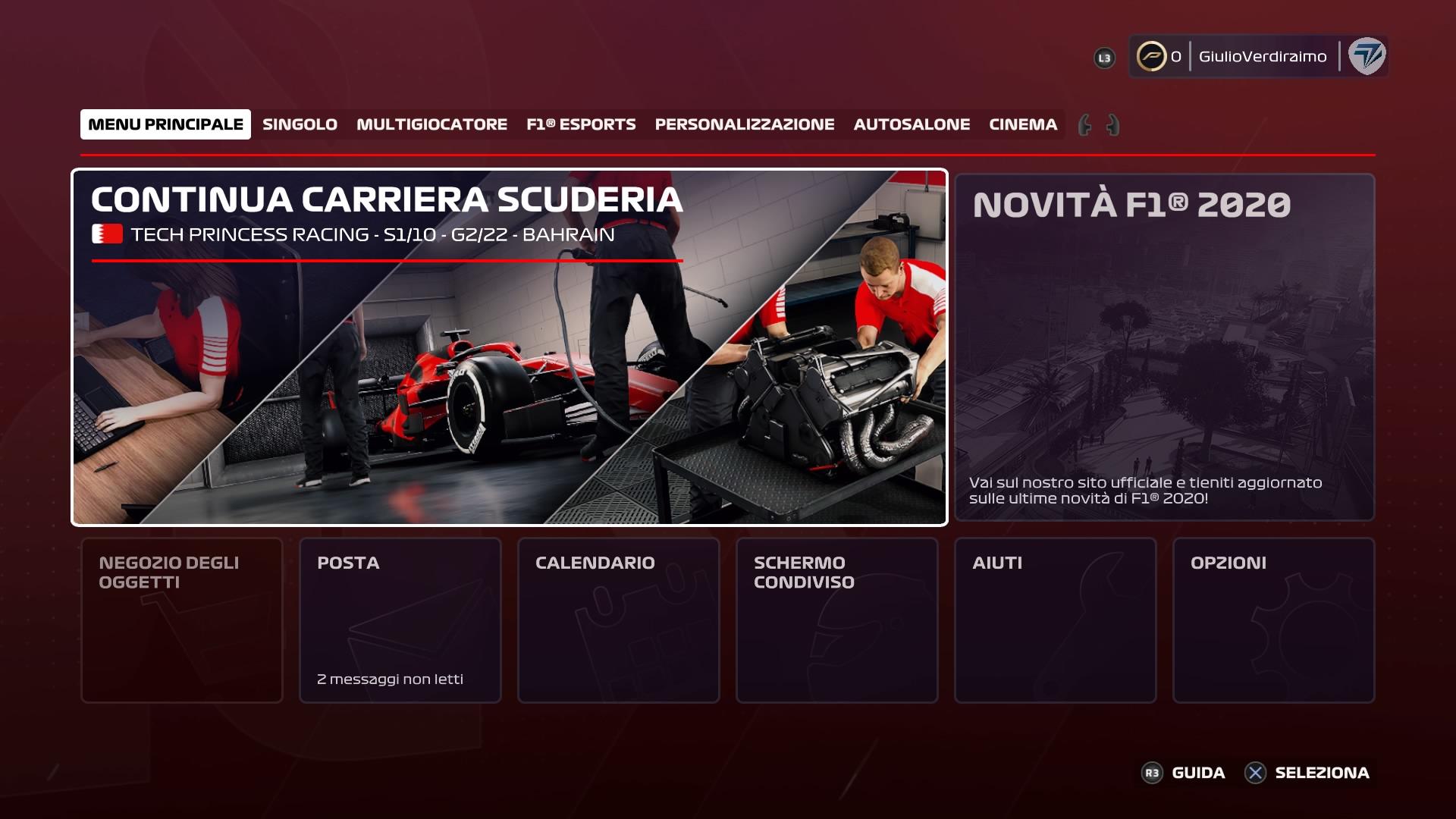 F1 2020 Carriera scuderia