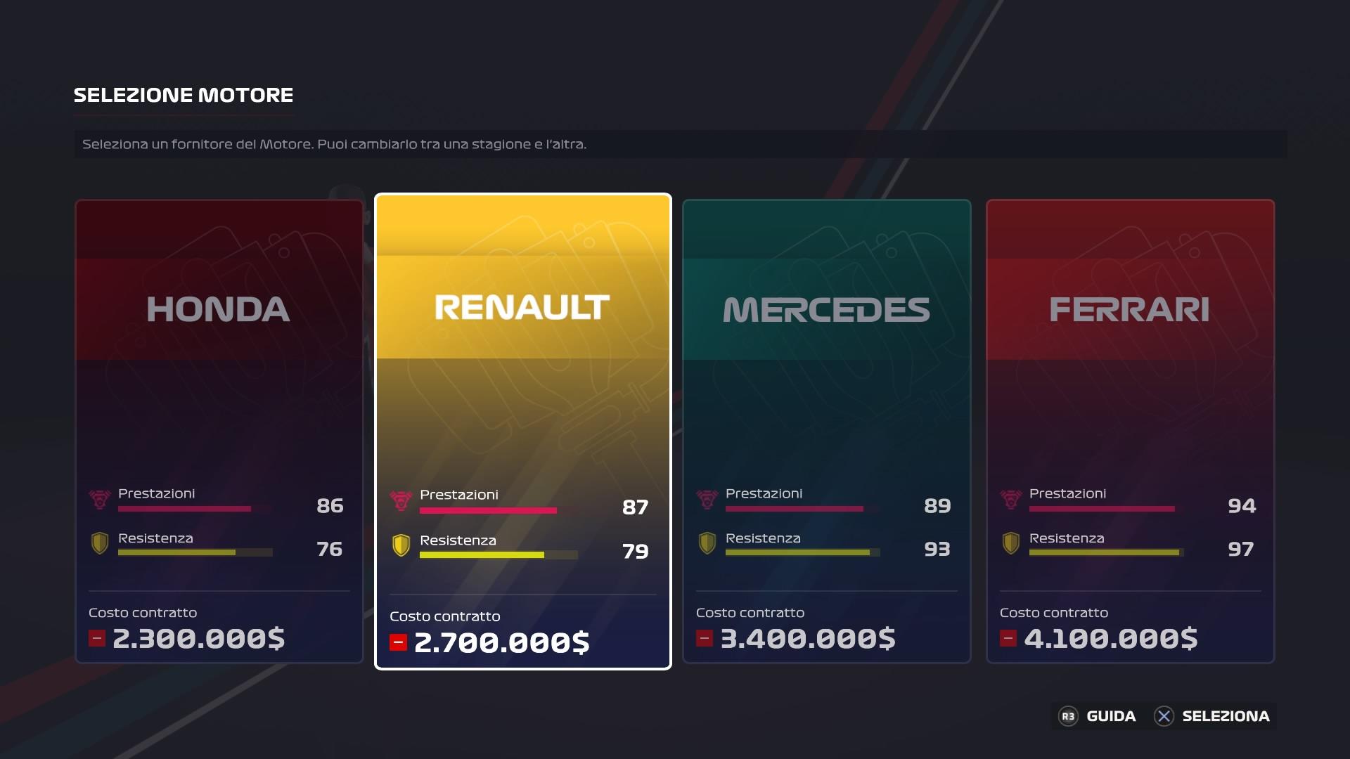 F1 2020 carriera scuderia motore
