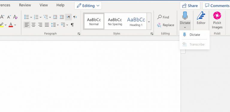 Trascrizione audio Microsoft Word