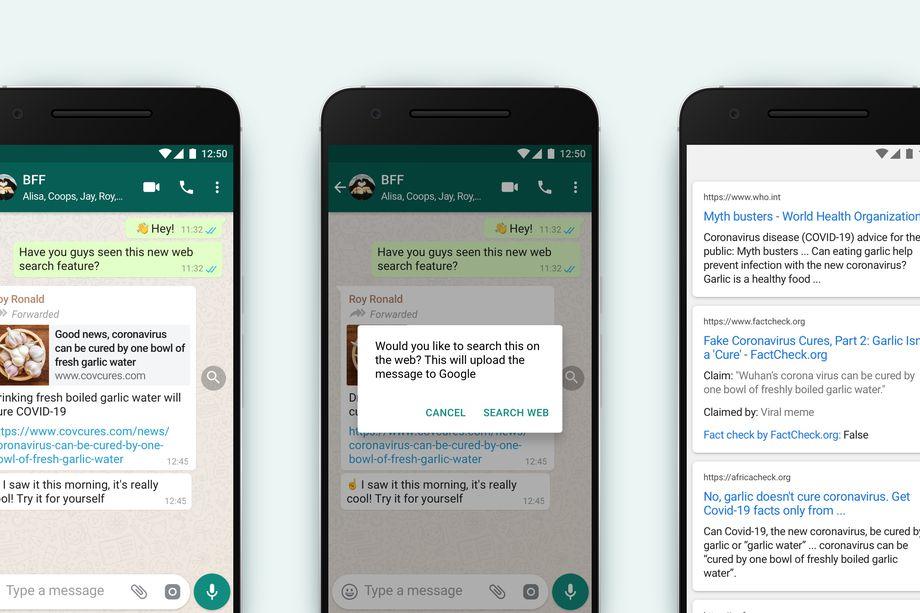 WhatsApp funzione ricerca web