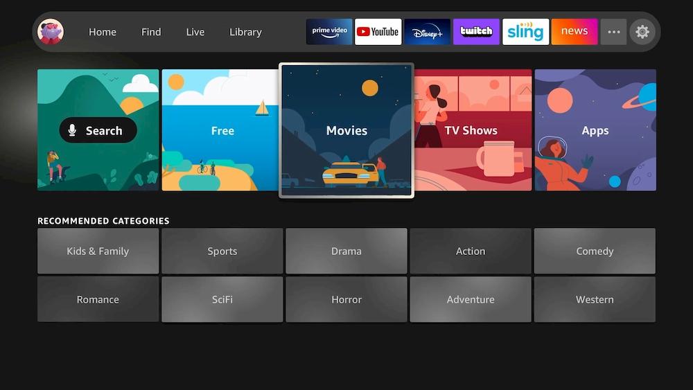 Amazon Fire TV interfaccia