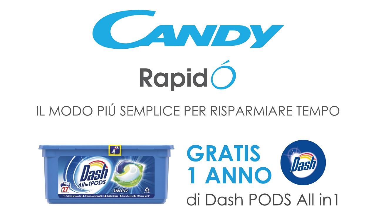 Candy Rapidò e Dash Pods All in 1 insieme in una nuova iniziativa thumbnail