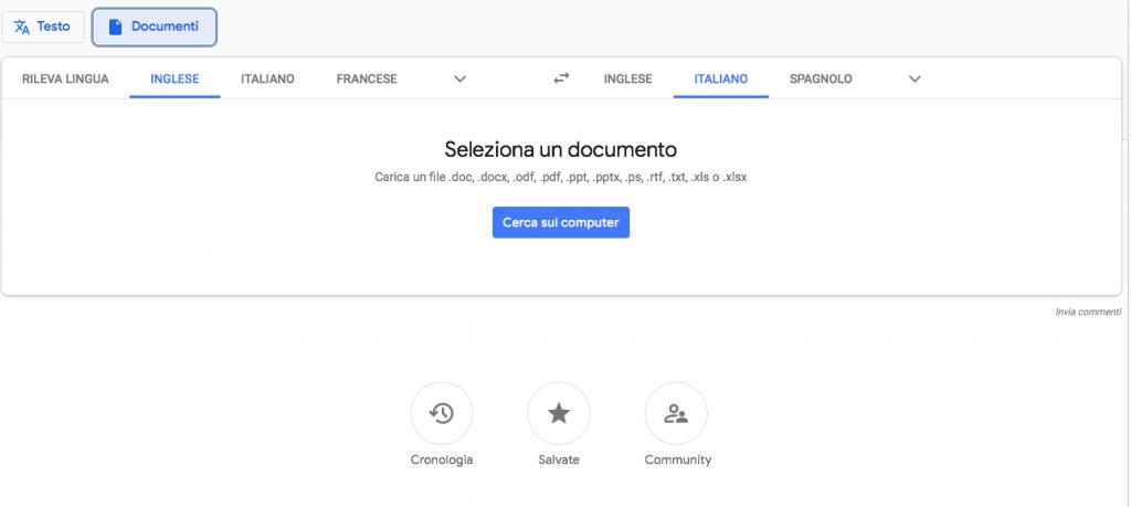 Google Traduttore documenti
