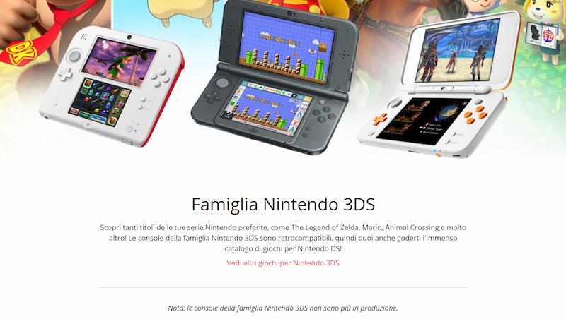 Nintendo 3DS nota fine produzione