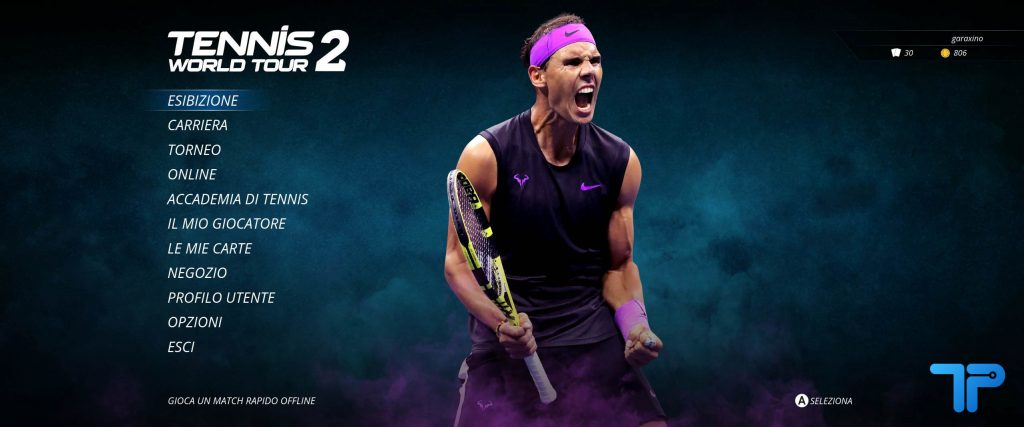 Tennis World Tour 2 menu