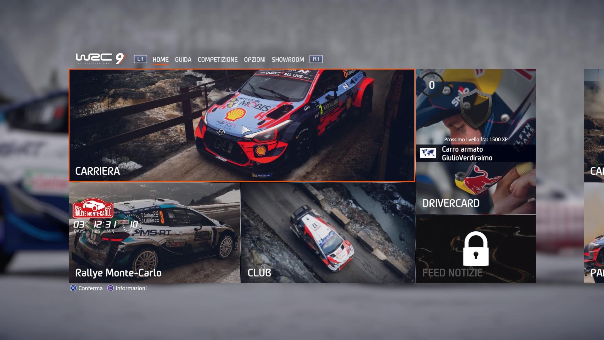 WRC 9 Recensione interfaccia