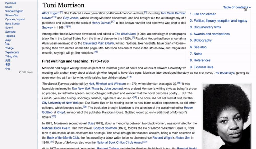 Wikipedia tavola dei contenuti modifica