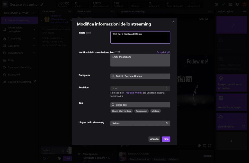Cambio titolo Twitch