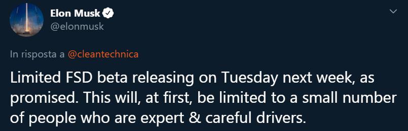 Elon Musk aggiornamento Tesla autopilot full self driving tweet