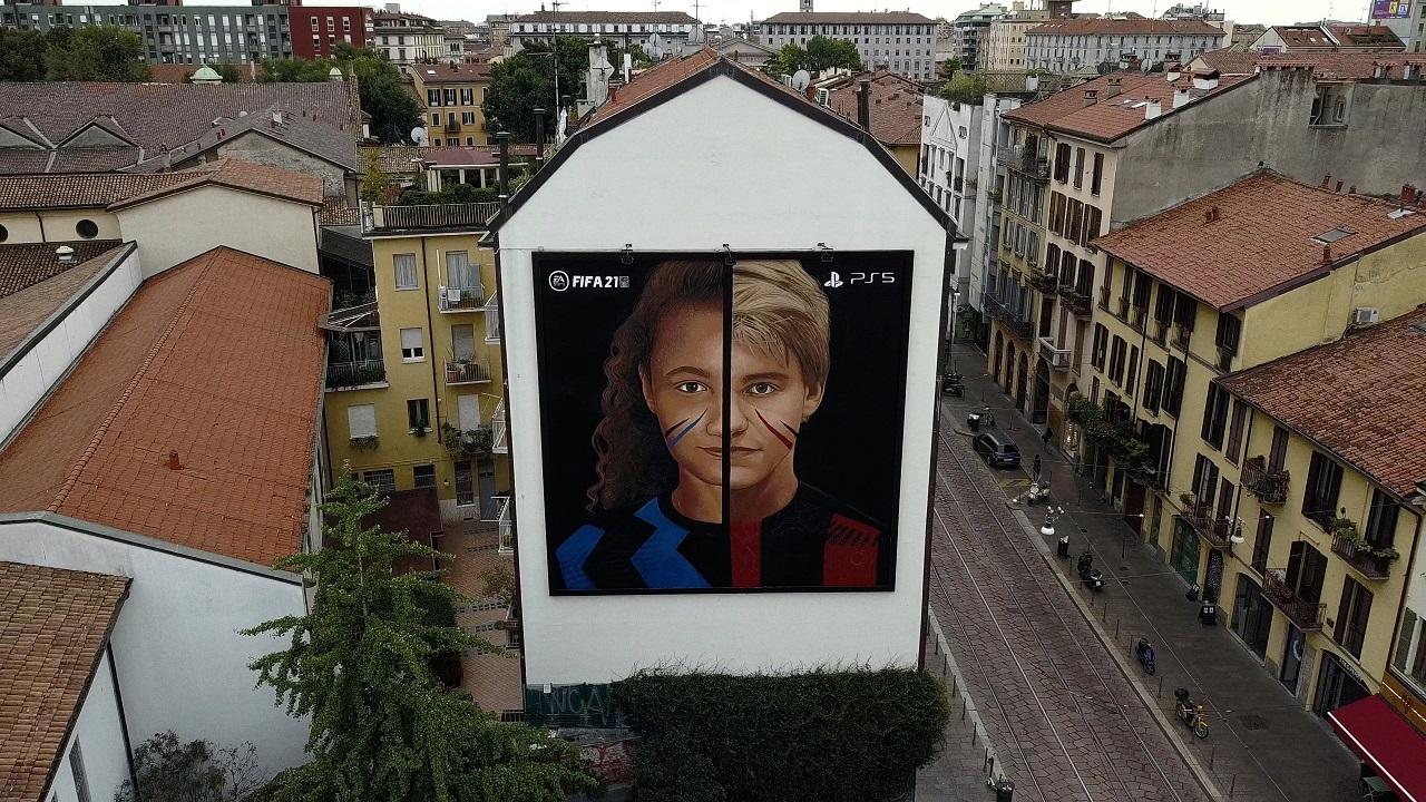 FIFA 21: un nuovo murales di Jorit celebra il calcio a Milano thumbnail