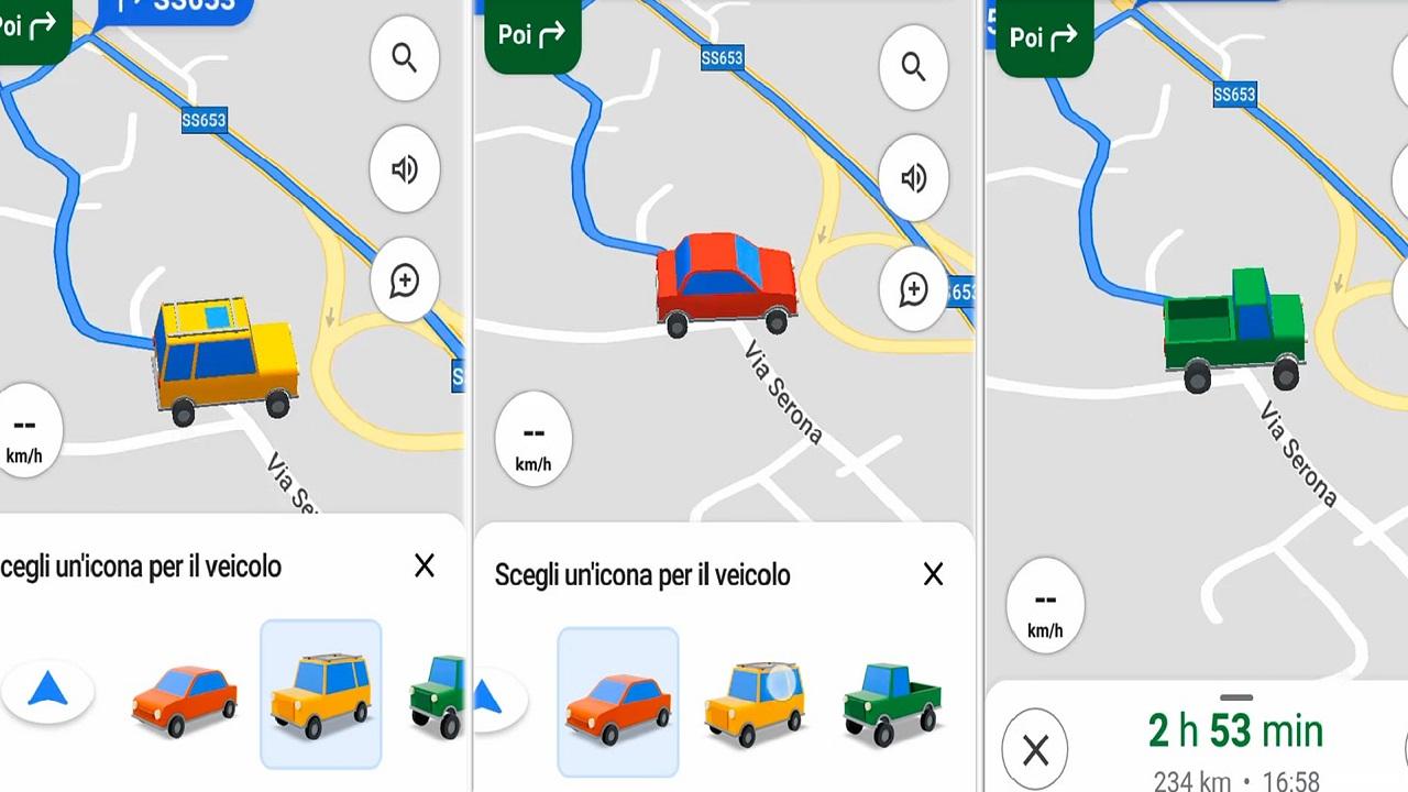 Nuove icone di veicoli disponibili su Google Maps per Android thumbnail