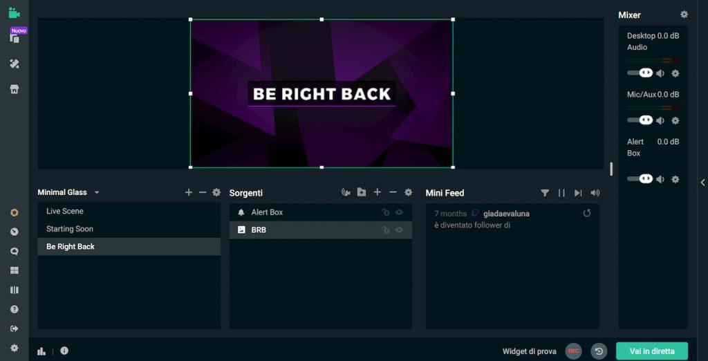 Streamlabs OBS schermata