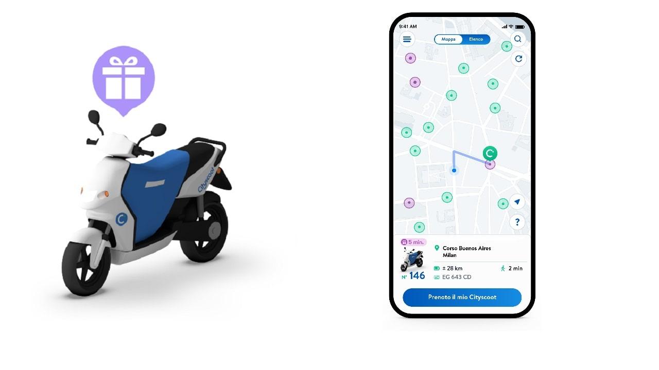 Sfreccia gratis sullo scooter viola di Cityscoot thumbnail
