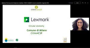"""Lexmark conferisce a Milano il premio """"Circular Economy""""  In occasione el Cresco Award, il Comune di Milano si è aggiudicato il premio Lexmark """"Circular Economy"""""""
