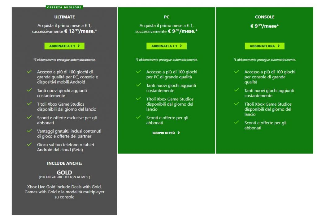 Xbox Game Pass offerte