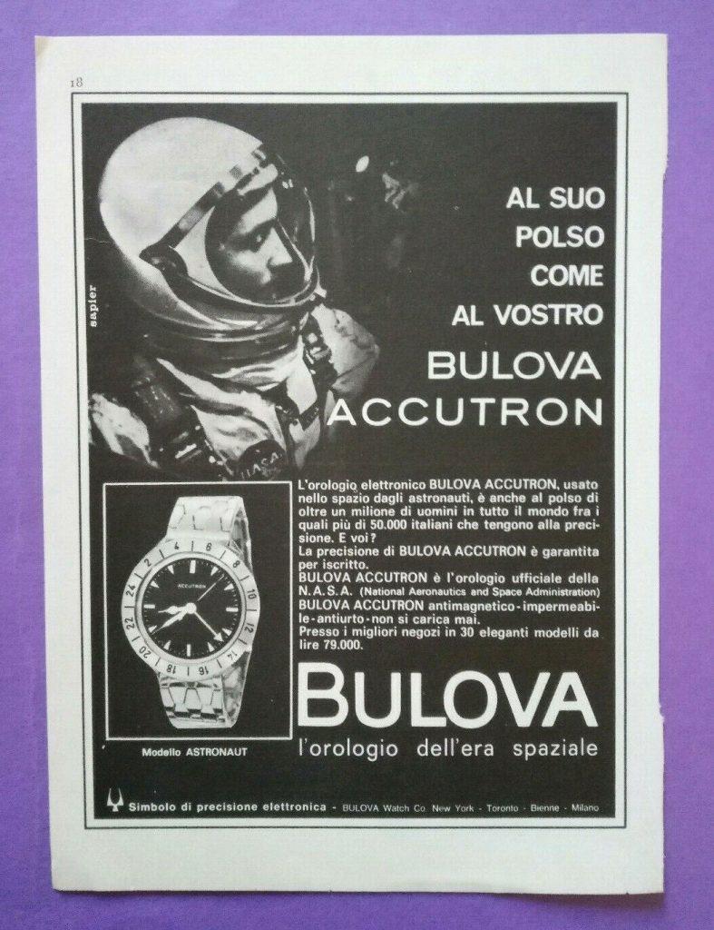 Bulova Accutron Spaceview modello vintage pubblicità luna