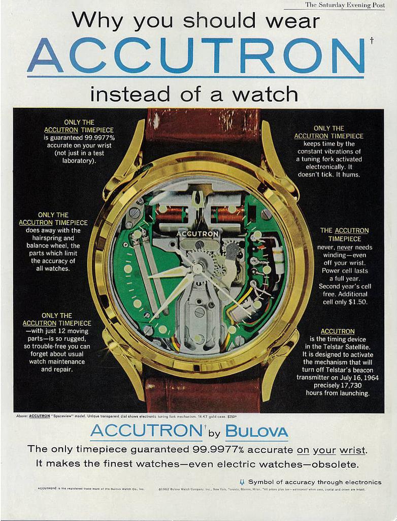 Pubblicità Bulova Accutron 1960