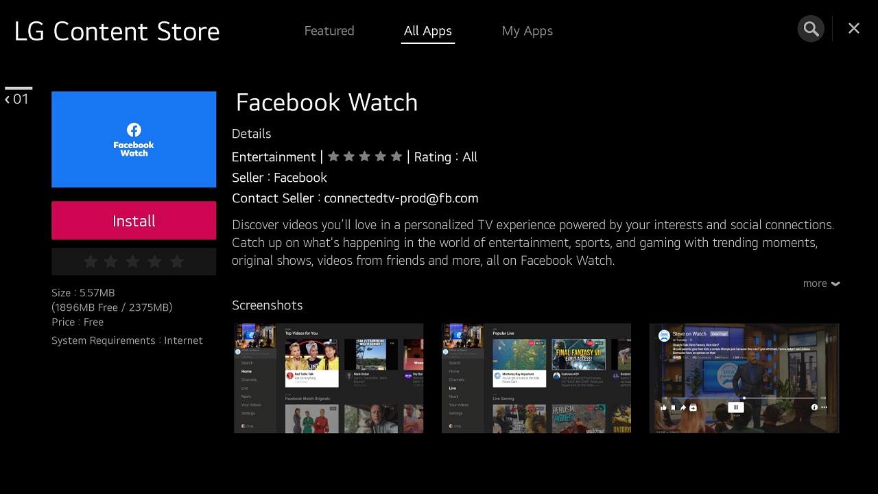 Facebook Watch arriva sui TV LG thumbnail