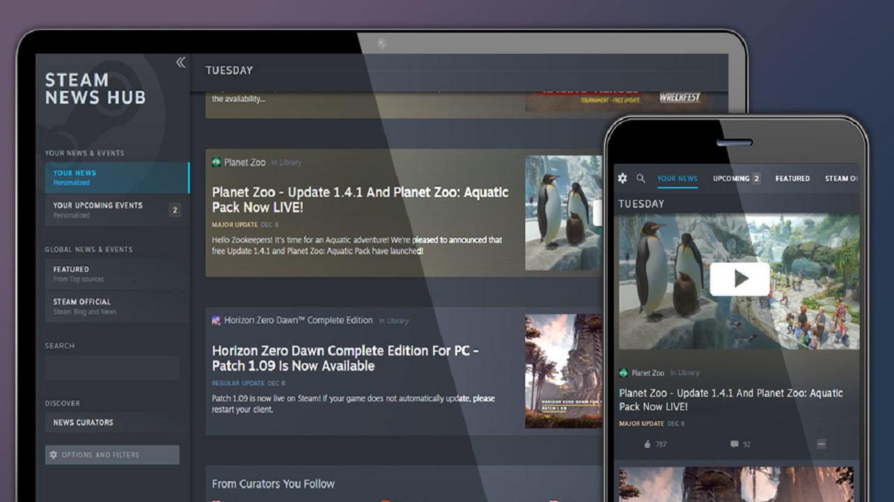 Gli utenti Steam possono vedere gli aggiornamenti e gli eventi nella sezione News Hub thumbnail