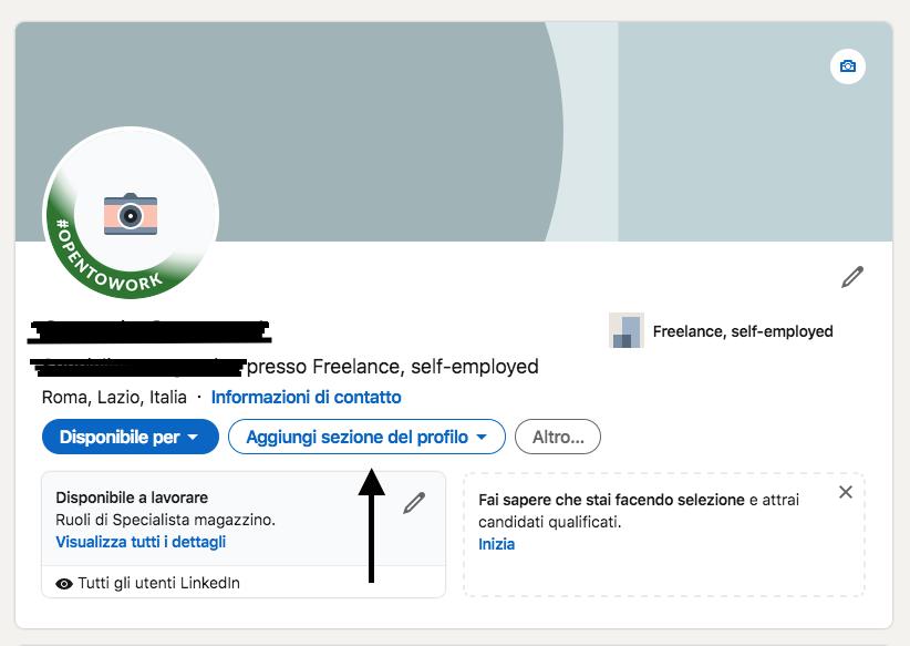 LinkedIn aggiungere sezioni al profilo
