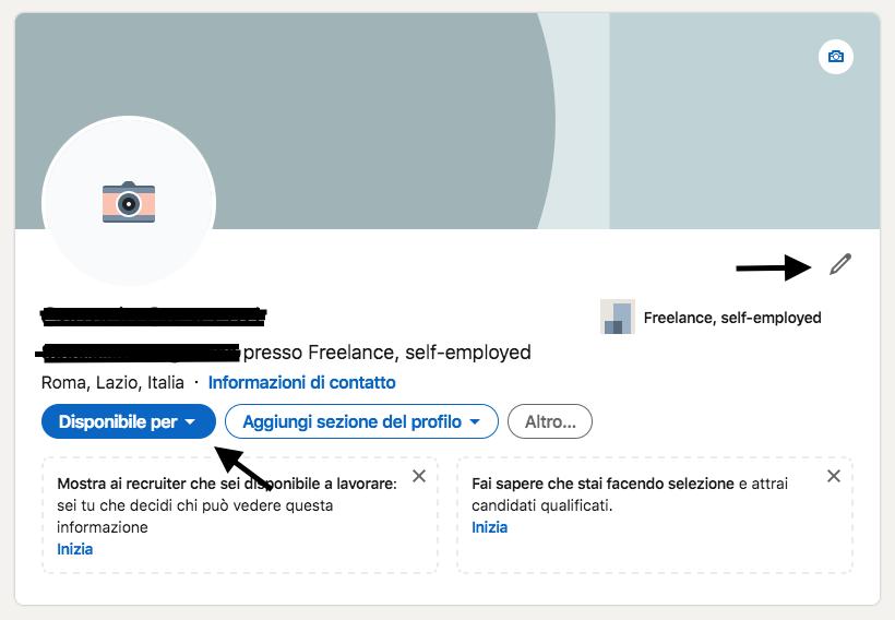 LinkedIn gestione profilo disponibile per