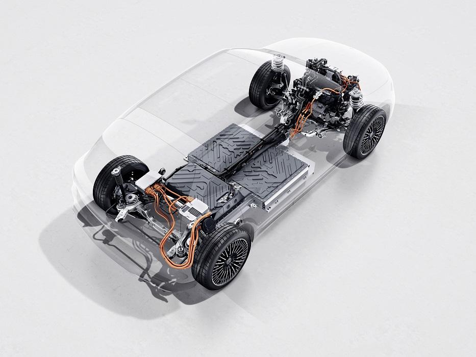 Il batteria di Mercedes EQA, capace di 66,5 kWh e 450 km di autonomia