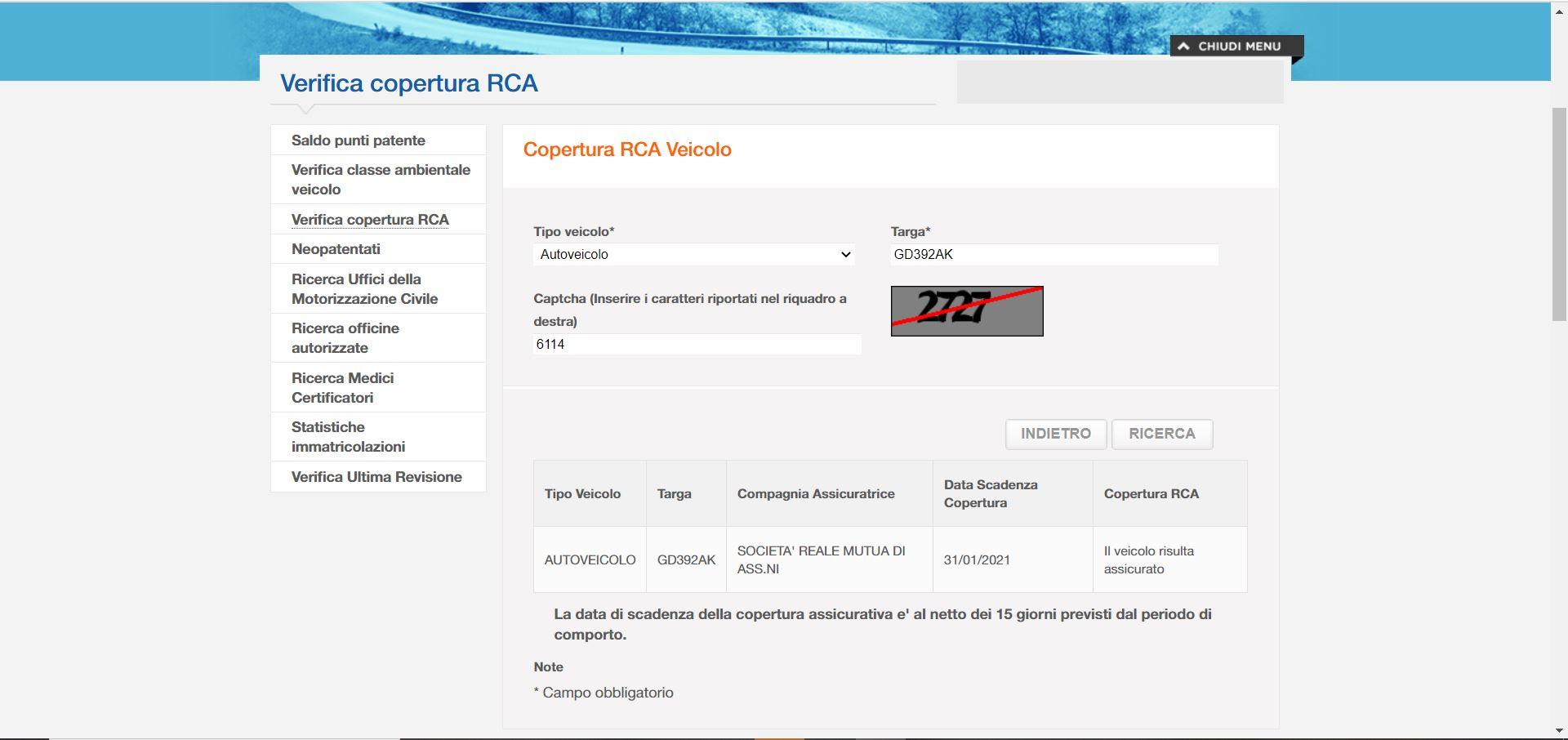 Controllo sul portale dell'automobilista dell'RCA